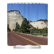 Red Road At Checkerboard Mesa Shower Curtain