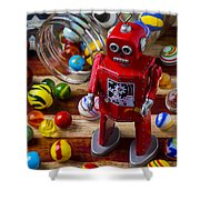Red Robot And Marbles Shower Curtain