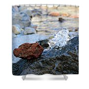 Red Rock And Crystal Water Shower Curtain