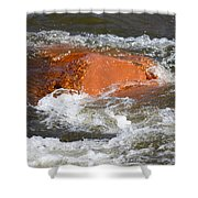Red Rock And Water Splash Shower Curtain