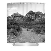 Red Rock Canyon Trailhead Black And White Shower Curtain