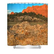 Red Rock Caps Shower Curtain