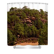Red Rock Green Forest No3 Shower Curtain