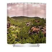 Red Rock Green Forest No2 Shower Curtain