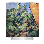 Red Rock Shower Curtain by Paul Cezanne