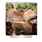 Red Rock Reflection I Shower Curtain