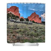 Red Rock Sunrise Shower Curtain