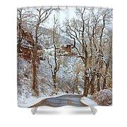 Red Rock Winter Road Portrait Shower Curtain