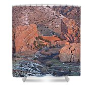 Red Rocks Amphitheater On Fire Shower Curtain