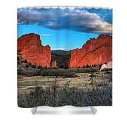 Red Rocks At Sunrise Shower Curtain