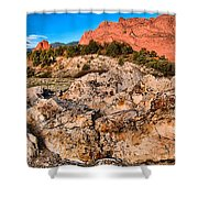 Red Rocks Over White Shower Curtain
