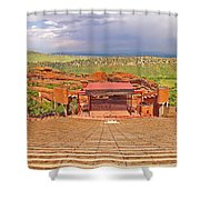 Red Rocks Park Amphitheater - Centered View Shower Curtain