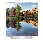 Red Rocks Reflection Shower Curtain