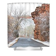 Red Rocks Winter Landscape Drive Shower Curtain by James BO  Insogna