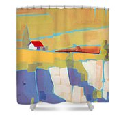 Red Roof Landscape Shower Curtain