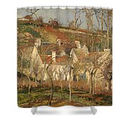Red Roofs In A Village In Winter Shower Curtain