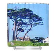 Red Roofs Shower Curtain