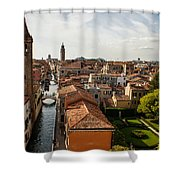 Red Roofs Of Europe - Venetian Canal Palaces Gardens And Courtyards Shower Curtain