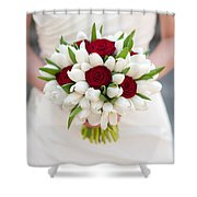 Red Rose And White Tulip Wedding Bouquet Shower Curtain