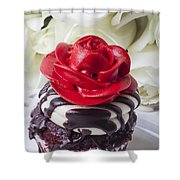 Red Rose Cupcake Shower Curtain