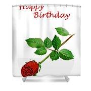 Red Rose Happy Birthday  Shower Curtain