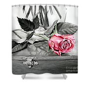 Red Rosebud Shower Curtain