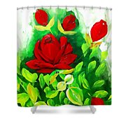Red Roses From The Garden Impression Shower Curtain