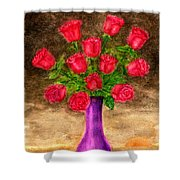 Red Roses In A Purple Vase Shower Curtain