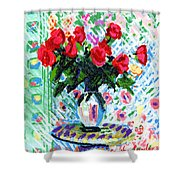 Red Roses In Water Shower Curtain