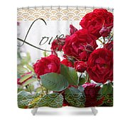 Red Roses Love And Lace Shower Curtain
