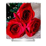 Red Roses On Lauhala Shower Curtain