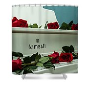 Red Roses On The Grand Piano Shower Curtain