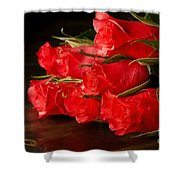 Red Roses On Wood Floor Shower Curtain