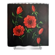 Red Roses Weeping Shower Curtain