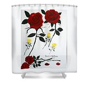 Red Roses Yellow Buds Shower Curtain