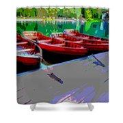 Red Rowboats Dock Lake Enhanced Iv Shower Curtain