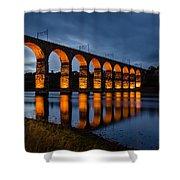 Red Royal Border Bridge Shower Curtain