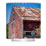 Red Rustic Weathered Barn Shower Curtain