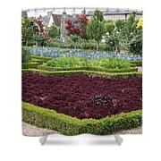 Red Salad And Roses - Chateau Villandry Garden Shower Curtain