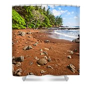 Red Sand Seclusion - The Exotic And Stunning Red Sand Beach On Maui Shower Curtain