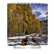 Red Sandstone Road In October Shower Curtain