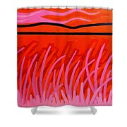 Red Scape Shower Curtain