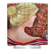 Red Scented Roses Shower Curtain