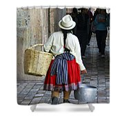 Red Skirted Woman Of Cuenca Shower Curtain