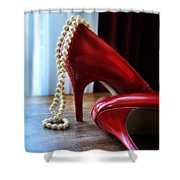Red Shoes And Pearls Shower Curtain