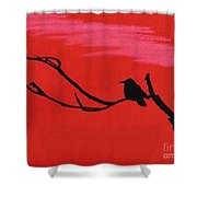 Red - Silhouette - Sunset Shower Curtain