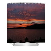 Red Sky Over Wachusett 1 Shower Curtain