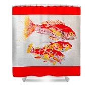 Red Snapper Family Painted Shower Curtain