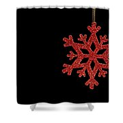 Red Snow Flake On A Black Background Shower Curtain