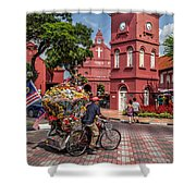 Red Square Malacca Shower Curtain